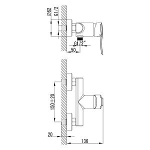 """Смеситель для душ кабины Imprese """"Nova VLNA 15135"""" хром"""
